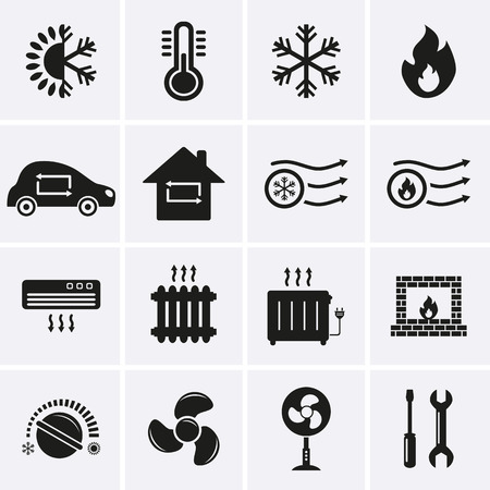 electric fan: Heating and Cooling Icons  Vector