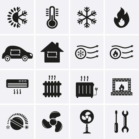Heizen und Kühlen Icons Vektor