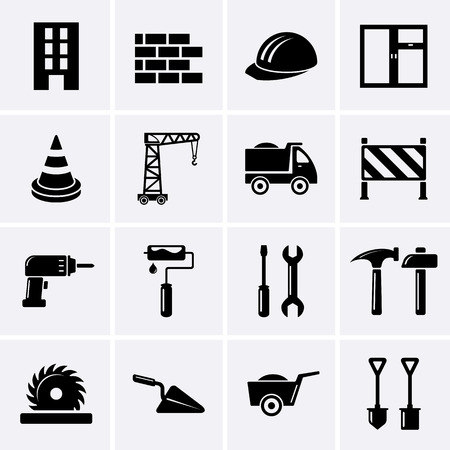 Building, construction and tools icons  Vector 스톡 콘텐츠