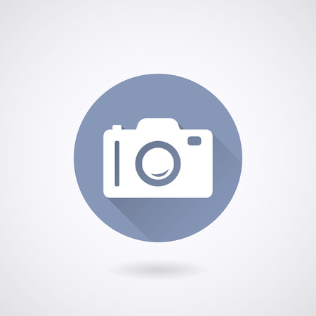 application Photo or Camera Icon in flat style with long shadows.