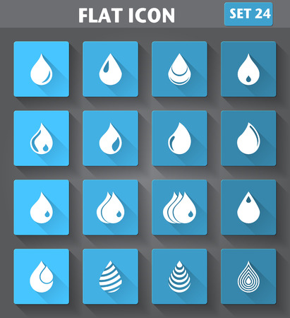 water droplet: application Drop Icons set in flat style with long shadows.