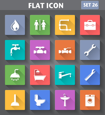 plumbers: application Plumbing Icons set in flat style with long shadows.