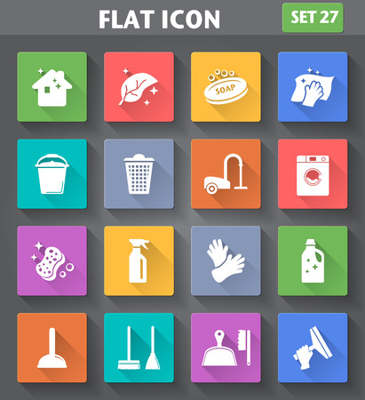 vacuum cleaning: application Cleaning Icons set in flat style with long shadows.