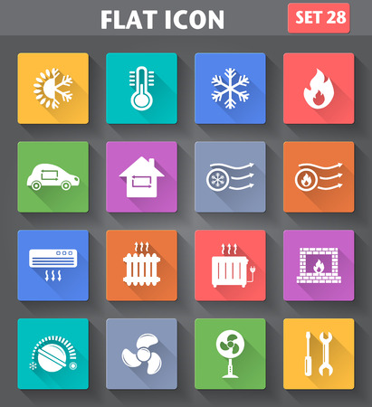 radiador: aplicaci�n de calefacci�n y enfriamiento Iconos fijados en estilo plano con largas sombras.