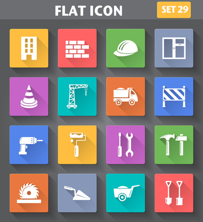 application Building, Construction and Tools Icons set in flat style with long shadows. Vector