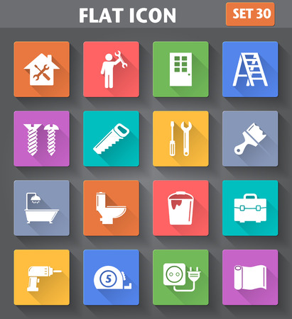 application Home Repair and Tools Icons set in flat style with long shadows.