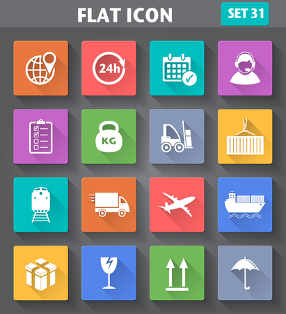 application Logistics and Shipping Icons set in flat style with long shadows Vector