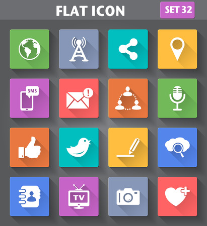 application Social Network and Internet Icons set in flat style with long shadows.