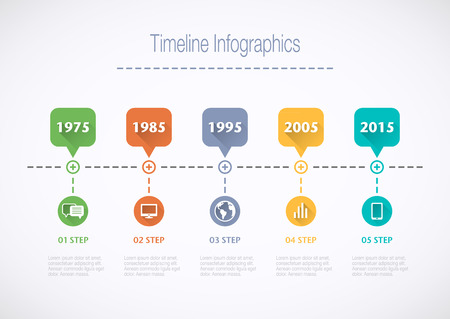 Timeline Infographic with pointers and text in retro style with a long shadow