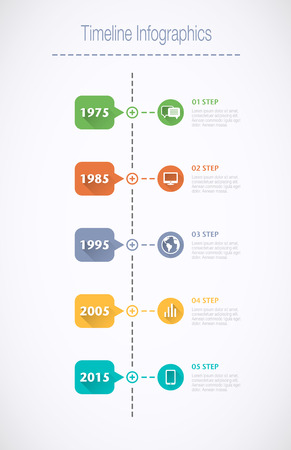 overview: Timeline Infographic with pointers and text in retro style with a long shadow
