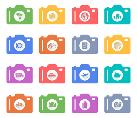 Camera concept of retro flat Vacation and Travel Icons with a long shadow Vector