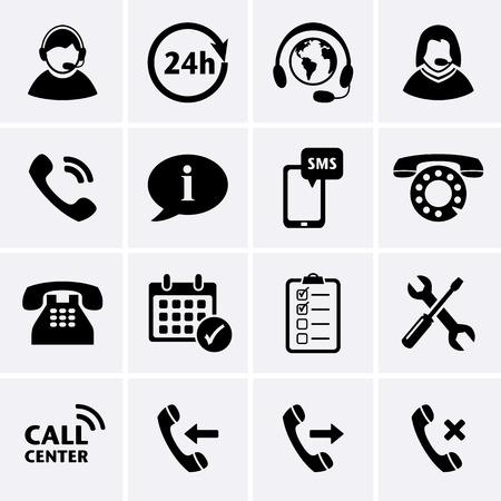 Call Center Iconos del conjunto de servicios de asistencia telefónica de atención al cliente y el auricular