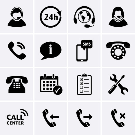 call center office: Call Center Service Icons set of customer care phone assistance and headset