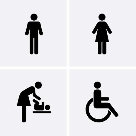 トイレのアイコン: 男と女、車椅子の人のシンボルと赤ちゃんを変更します。