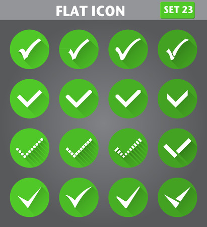 accept icon: Vector application Check Marks or Ticks Icons set in flat style with long shadows. Illustration