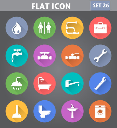 Vector application Plumbing Icons set in flat style with long shadows.