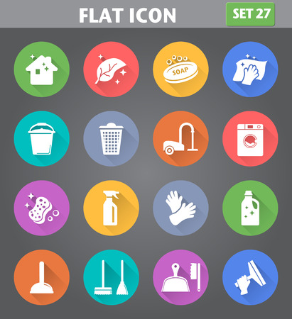 Vector toepassing Cleaning Icons set in vlakke stijl met lange schaduwen. Stock Illustratie