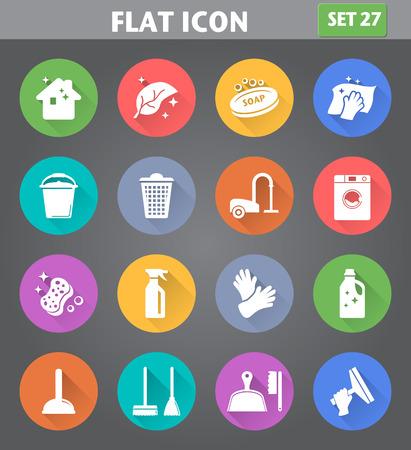 Vektor-Icons in Anwendung Reinigung flachen Stil mit langen Schatten gesetzt. Illustration