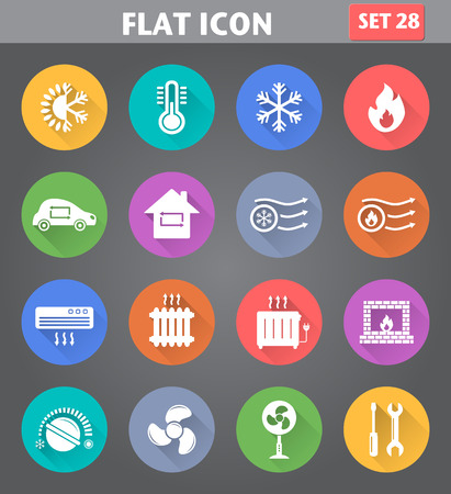 radiator: Vector de aplicaciones de calefacción y refrigeración Iconos fijados en estilo plano con largas sombras.