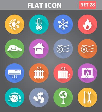 Vector toepassing Verwarmen en koelen Icons set in vlakke stijl met lange schaduwen. Stock Illustratie