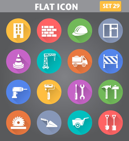 Vector application Building, Construction and Tools Icons set in flat style with long shadows.