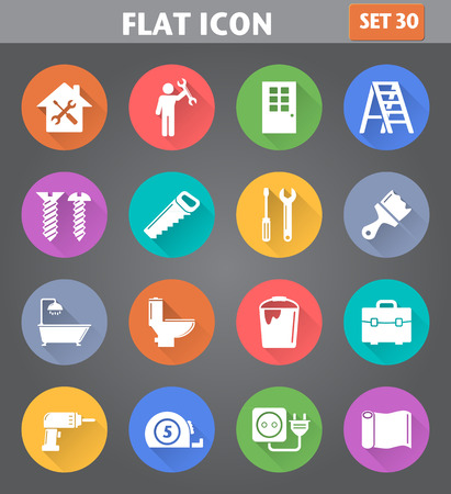 Vector application Home Repair and Tools Icons set in flat style with long shadows.