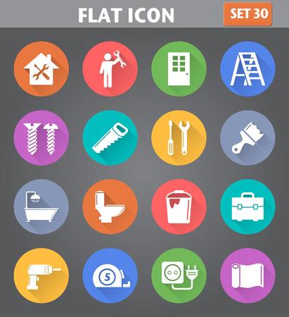 Vector Anwendung Home Repair und Werkzeuge Icons in flachen Stil mit langen Schatten gesetzt.