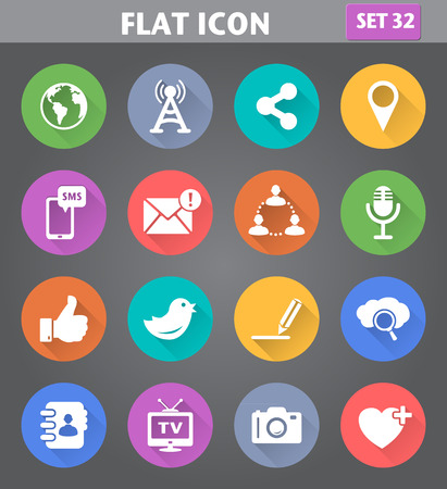 Vector application Social Network and Internet Icons set in flat style with long shadows. Vector