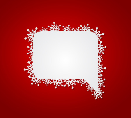 card designs: Red Christmas background with speech bubble with paper snowflakes. Vector illustration