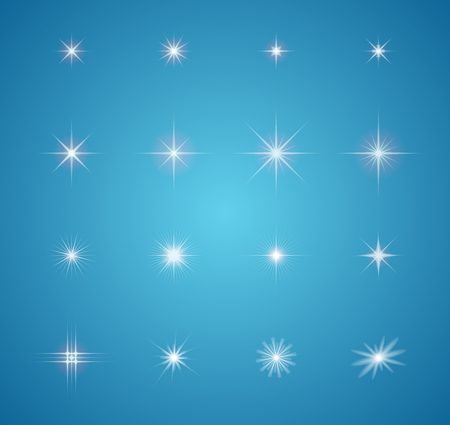 Set of Vector glowing light effect stars bursts with sparkles Vector