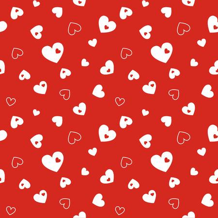 Modelo rojo inconsútil con los corazones. Ilustración vectorial