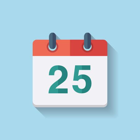Flat calendar icon with the date 25th