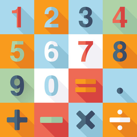 sums: Numbers and Mathematical Icons.