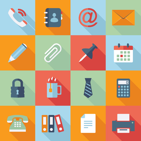 Office icons collection of flat and colorful web icons Vector