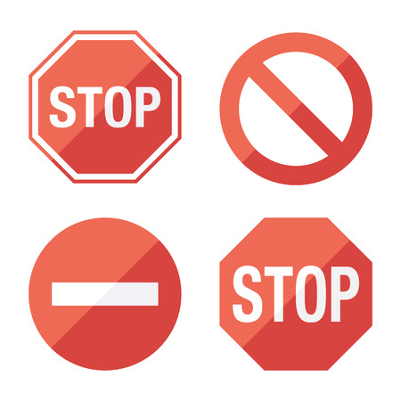 red sign: Stop sign set Flat design.