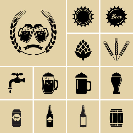 barley hop: Beer Icons for web