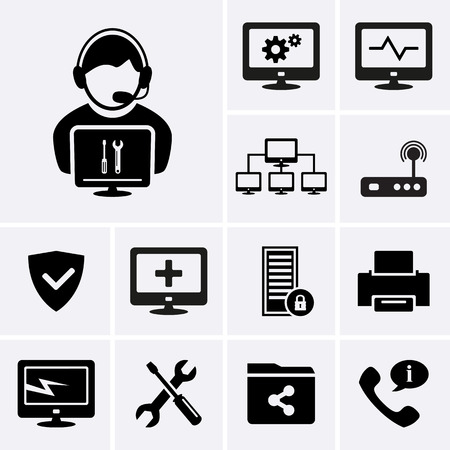 it technology: Computer technician icons.