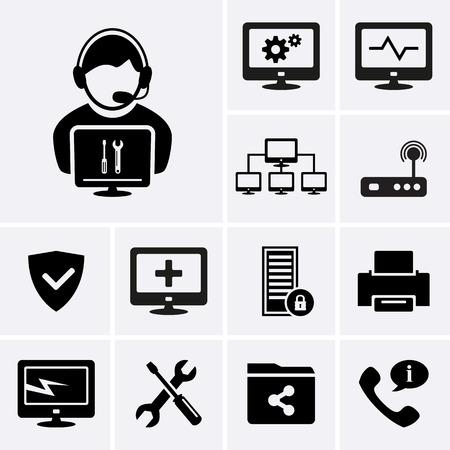 computer support: Icone tecnico di computer.