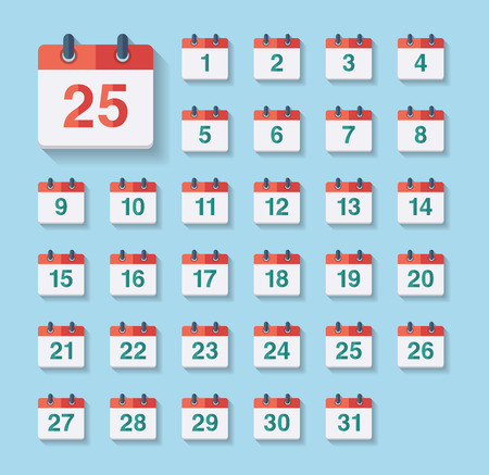 Flat Calendar Icons. Vector collection of flat and colorful web icons Illustration