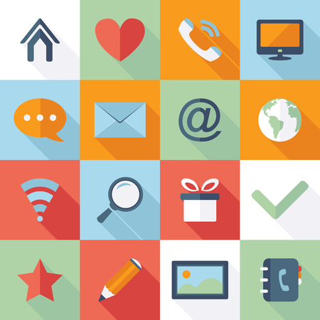 Web Icons. Vector collection of flat and colorful web icons Stock Illustratie