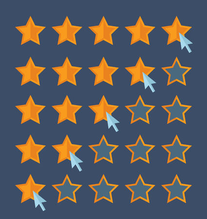 quality check: Concept for customer review. Cursor arrow choosing rating stars. Flat design vector for web