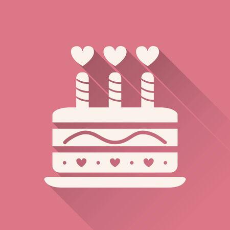 bougie coeur: Valentine gâteau avec des bougies icône. Vecteur pour le web