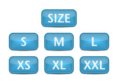 small size: Etiquetas de talla de ropa. Bot�n azul del vector