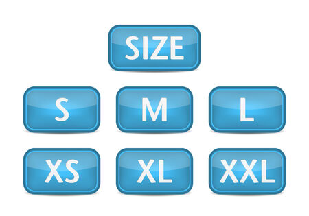Clothing size labels. Blue button vector Illustration