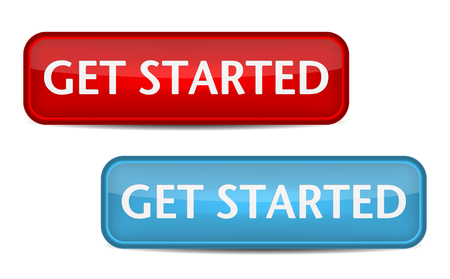initiate: Get started. Red and blue button vector