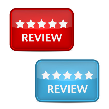 e survey: Review label. Red and blue button vector Illustration
