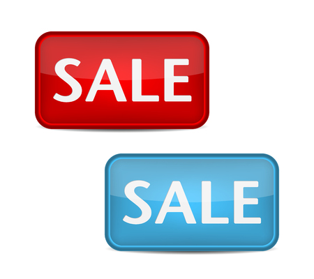 sell out: Sale label. Red and blue button vector