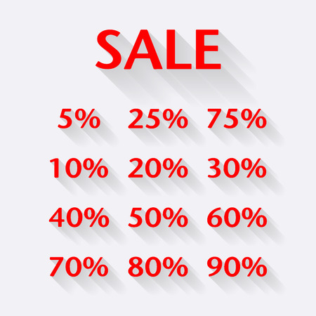 Discount price label. Sale price with modern long shadow effect Vector