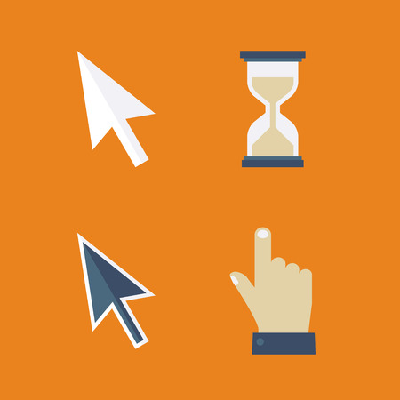 Flat cursors icons: arrow, hand, hourglass, mouse