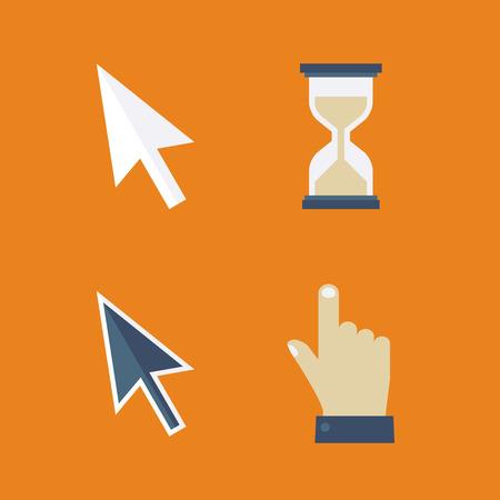 flecha direccion: Cursores planas iconos: flecha, mano, reloj de arena, rat�n
